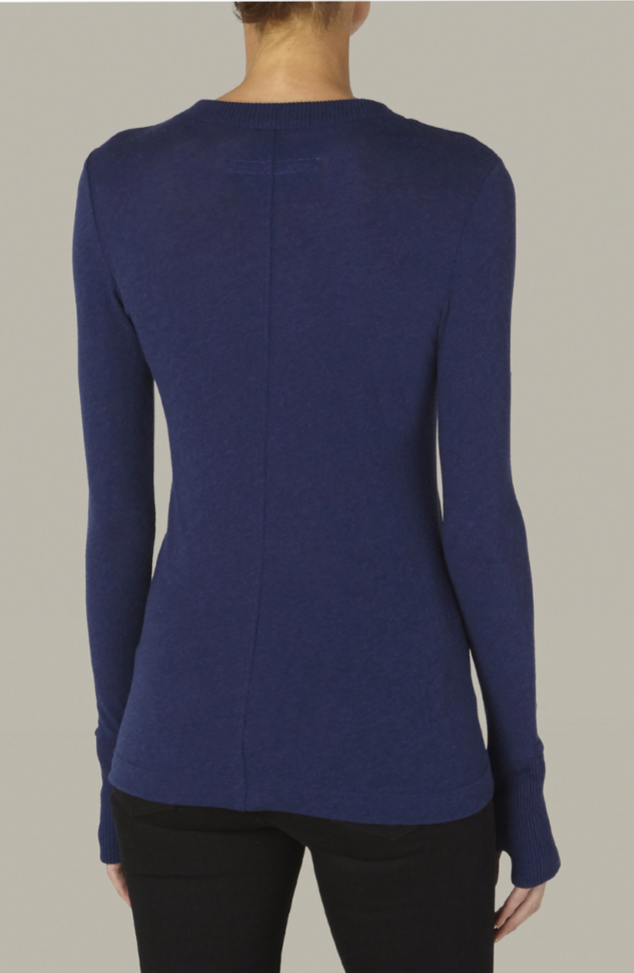 Enza Costa Cashmere Easy Cuffed Crew in French Navy