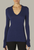 Enza Costa Cashmere Easy Cuffed U Neckline Top in French Navy