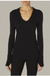 Enza Costa Cashmere Easy Cuffed U Neckline Top in Black