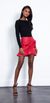 Karina Grimaldi Ariel Leather Skirt in Red