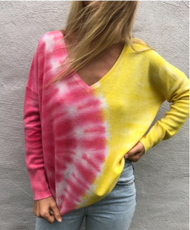 Crush Cashmere Malibu Tie Dye Oversized V Sweater