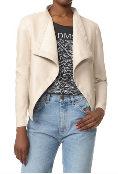 BB Dakota Peppin Vegan Leather Drape Jacket - Bone - Estilo Boutique