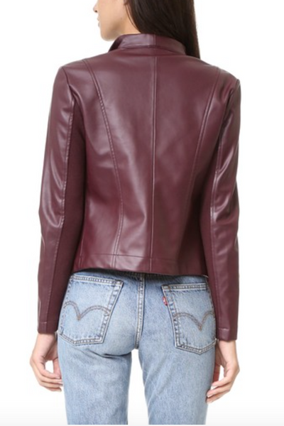 BB Dakota Peppin Vegan Leather Drape Jacket - Aubergine - Estilo Boutique