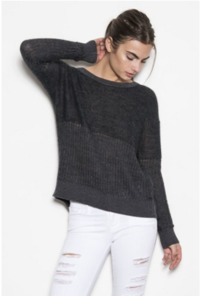 One Grey Day Maggie Sweater in Charcoal