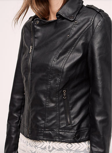 Jakett Vintage Vegan Hammered Moto Jacket - Estilo Boutique