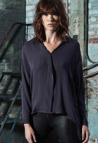 Heather Long Sleeve Silk Collared Blouse