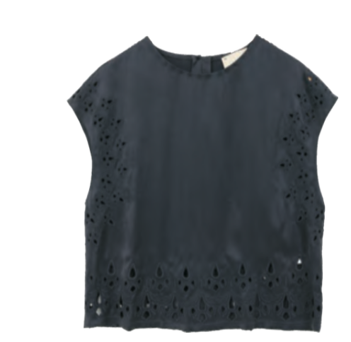 The Korner Short Sleeve Top With Cut-Out Embroidery - Estilo Boutique