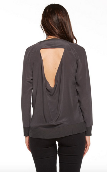 Chaser Silk Basics Drape Back Raglan Pullover in Vintage Black - Estilo Boutique