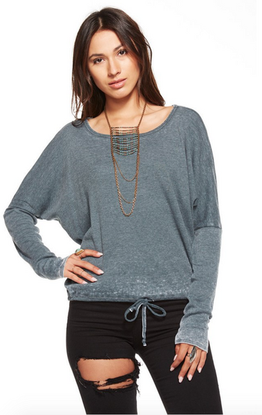Chaser Vintage Rib Oversized Open Neck Drawstring Long Sleeve Tee in Yosemite - Estilo Boutique