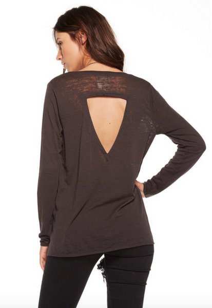 Chaser Vintage Jersey Long Sleeve Deep V Vent Back Flounce Tee in Union Black - Estilo Boutique