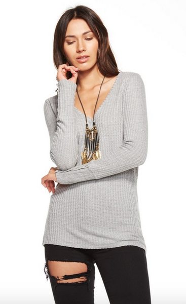 Chaser Waffle Thermal Deep V long Sleeve Button Cuff Thermal in Heather Grey - Estilo Boutique