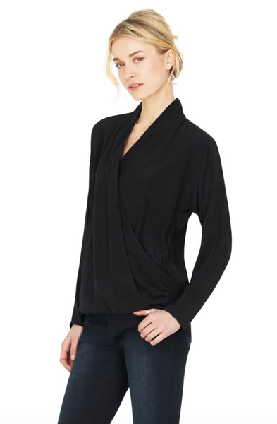 Ecru the Fold Over Dolman Top in Black - Estilo Boutique
