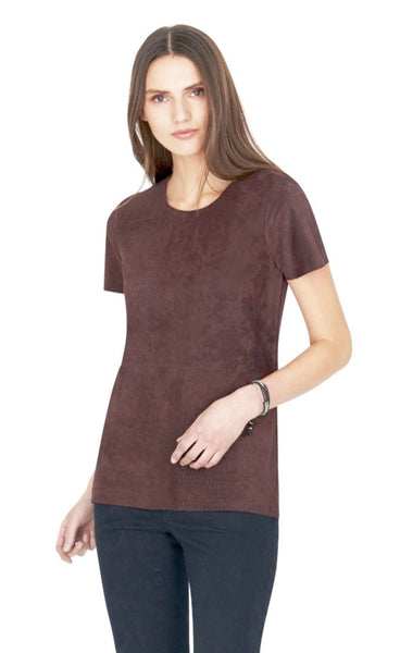 Ecru Suede Front Swing Tee with Perforated Blocking in Rosewood - Estilo Boutique