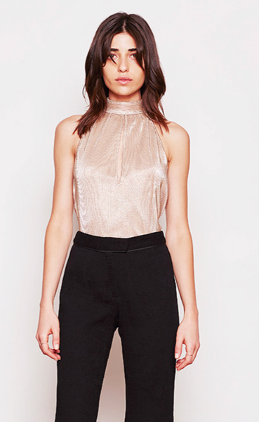 Saylor Dyana Gold Pleated Top - Estilo Boutique