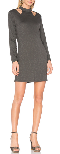 Lanston Cutout Turtleneck Mini Dress In Military - Estilo Boutique