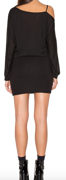 Lanston Off The Shoulder Mini Dress In Black - Estilo Boutique