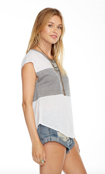 Chaser Blocked Jersey Open Neck Cap Sleeve Dolman Tee in White