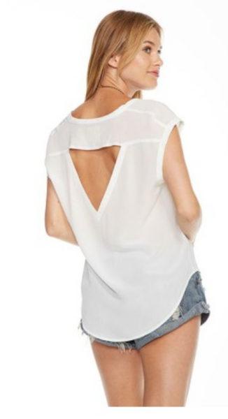 Chaser Silk Basics Vent Back Silk Shirttail Top in White