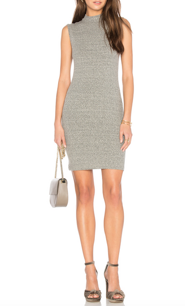 Enza Costa Rib Sleeveless Mock Neck Mini Dress
