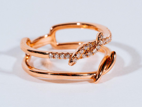 Mizana Collections Rose Gold Double Twist Diamond Ring