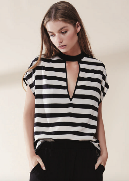 Luxe Deluxe Stripe Cut Top