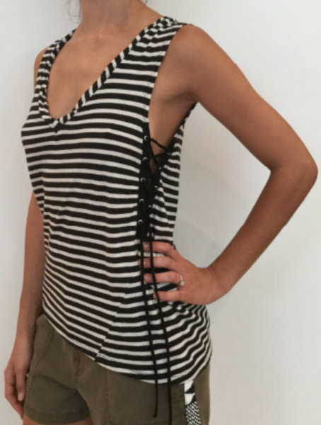 Pam & Gela Striped Laceup Tank