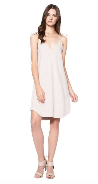 David Lerner Micro Suede Slip Dress in Opal