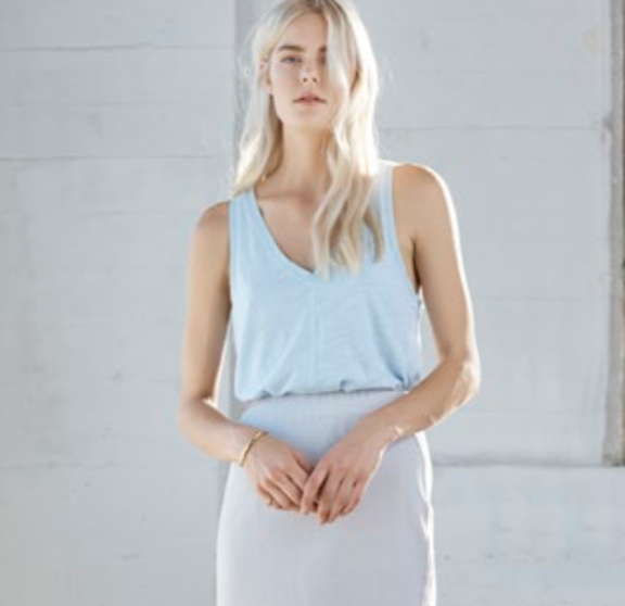 Heather Cotton and Gauze V Neck Tank