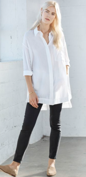 Heather Twill Voile Long Sleeve Button Down in White
