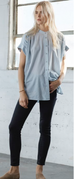 Heather Twill Voile Short Sleeve Button Down in Iron