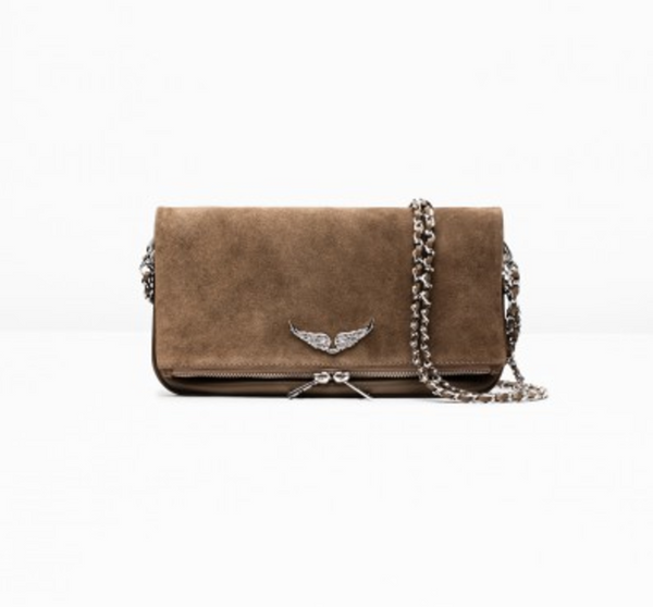 Zadig & Voltaire Rock Suede Clutch in Taupe