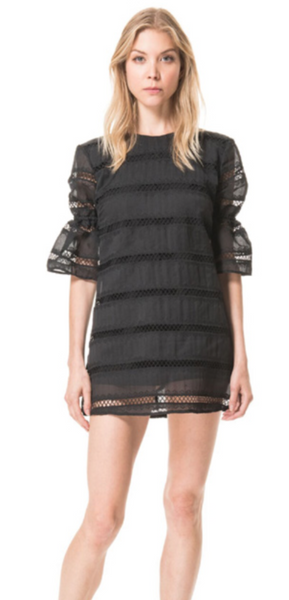 Karina Grimaldi Onelia Lace Mini Dress in Black Stripe