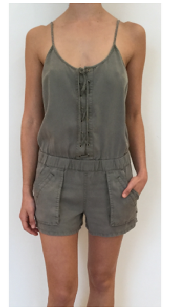 Pam & Gela Strappy Lace Up Romper - Cadet