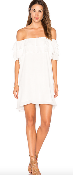 Krisa Off Shoulder Ruffle Mini Dress In White
