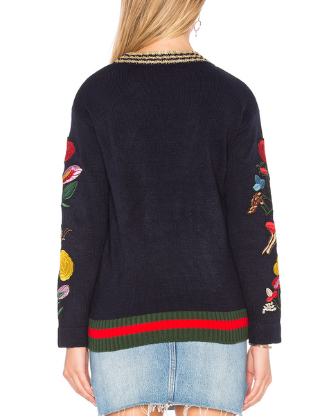 Central Park West Abbot Kinney Butterfly Pullover in Navy