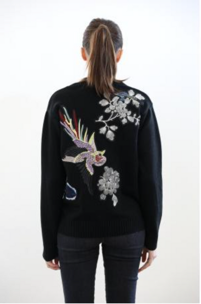 Central Park West Abbot Kinney Bird Pullover in Black