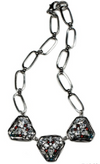 Nicole Romano Triple Triangular Plate and Crystal Cluster Necklace in Silver