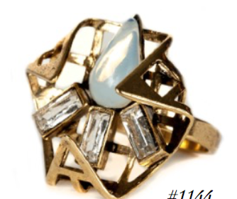 Nicole Romano Folded Triangular Grid Ring with Crystal Baguettes and Opal Drop