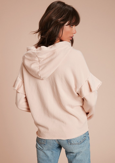 Nation LTD Cleo Ruffle Hoodie in Blushed