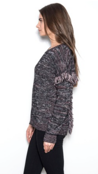 One Grey Day Roan Fringe Detail Sweater