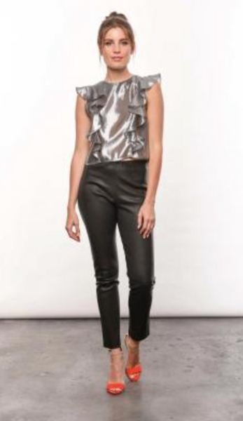 Karina Grimaldi Olivia Top In Metallic Silver