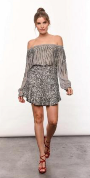 Karina Grimaldi Fabiana Beaded Mini Skirt  In Silver