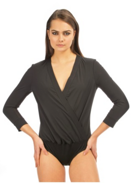 Blanc Noir Wrap Bodysuit in Black