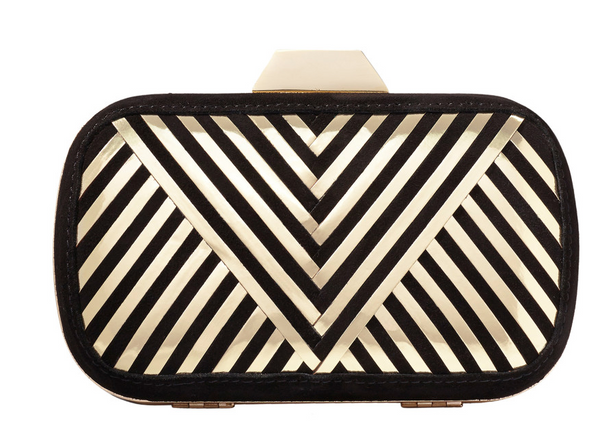 "Lili Radu Shell Clutch ""Metallic V"" in Black Suede/Gold Metallic"