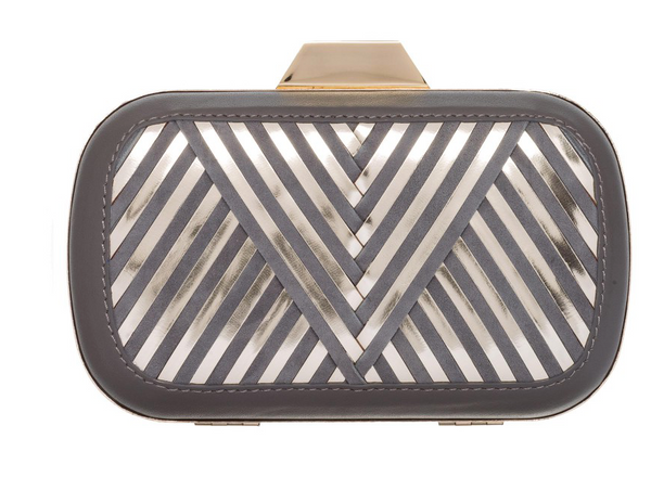 "Lili Radu Shell Clutch ""Metallic V"" in Grey Suede/Gold Metallic"