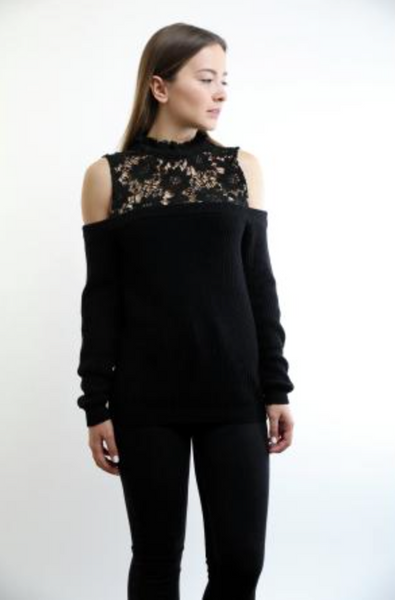 Central Park West Long Beach Lace Off Shoulder Sweater