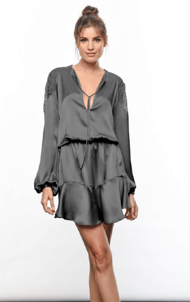 Karina Grimaldi Ariana Silk Mini Dress in Charcoal