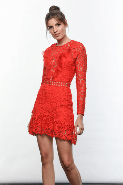 Karina Grimaldi Sofia Lace Mini Dress in Fantasy Red