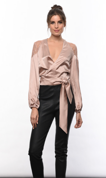 Karina Grimaldi Juliana Wrap Top in Nude
