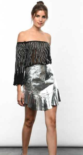 Karina Grimaldi Franco Leather Mini Skirt in Silver Metallic